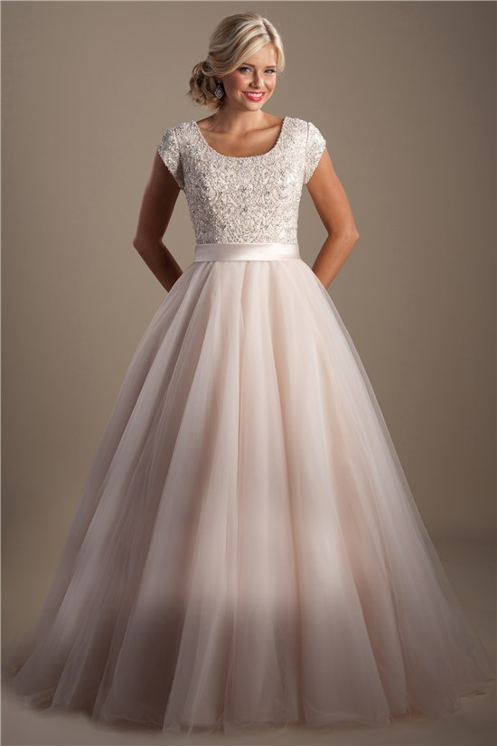 Modest a line scoop neck cap sleeve blush pink tulle beaded wedding