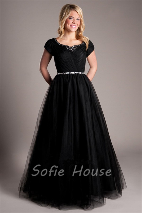 A Line Short Sleeve Black Tulle Beaded Prom Dress