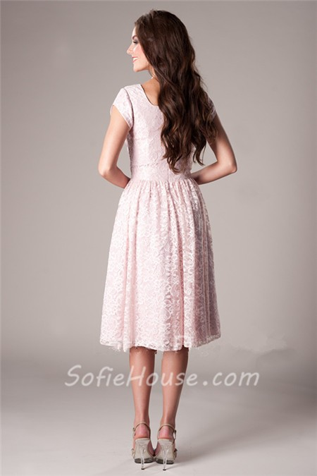 Modest a line short sleeve blush pink lace wedding party for Short blush pink wedding dresses