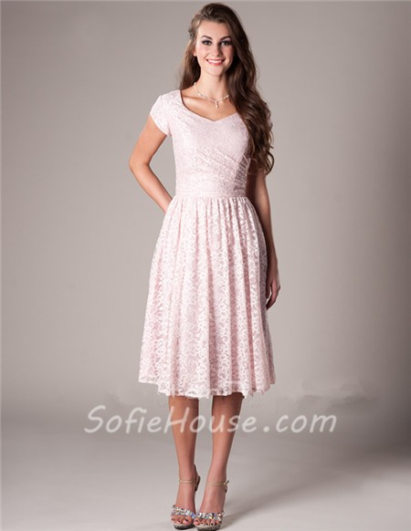Modest a line short sleeve blush pink lace wedding party for Short modest wedding dresses