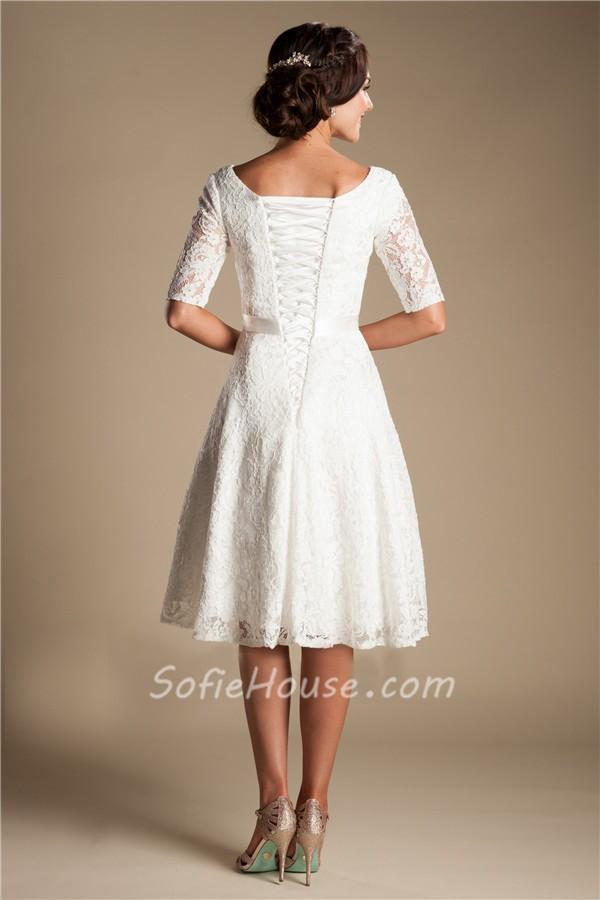 Modest a line short sleeve lace corset wedding dress with sash for Lace sleeve corset wedding dress