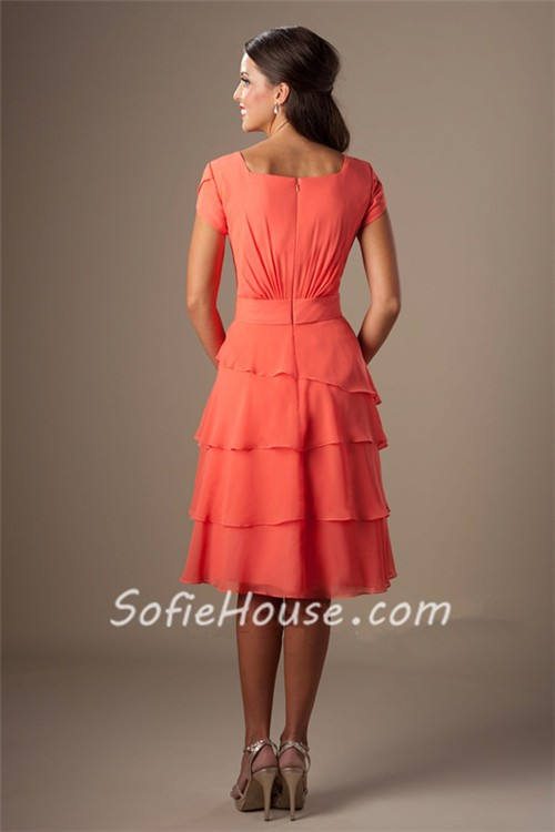 ee55a6a0f5 Modest A Line Short Sleeves Coral Chiffon Tiered Ruffles Bridesmaid Dress.  Sale