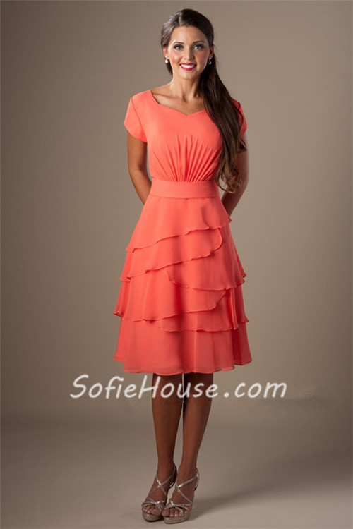 A Line Short Sleeves Coral Chiffon Tiered Ruffles Bridesmaid Dress