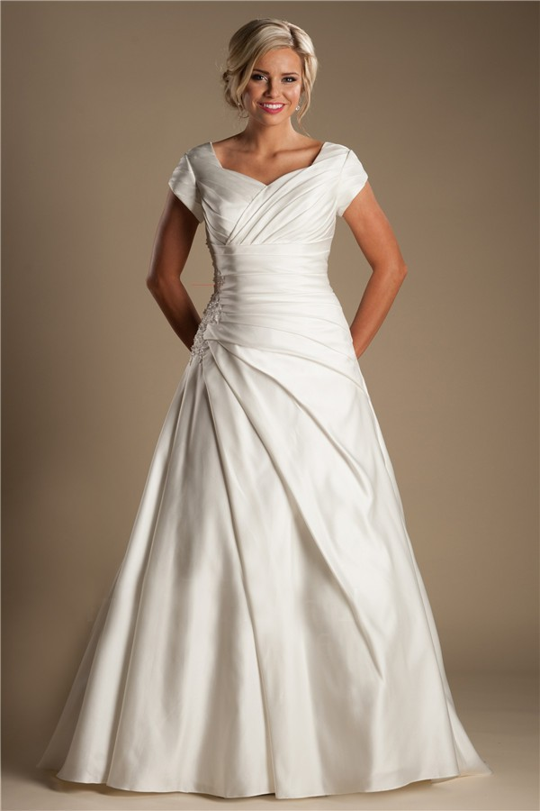 Modest A Line Sleeve Ivory Satin Draped Wedding Dress With