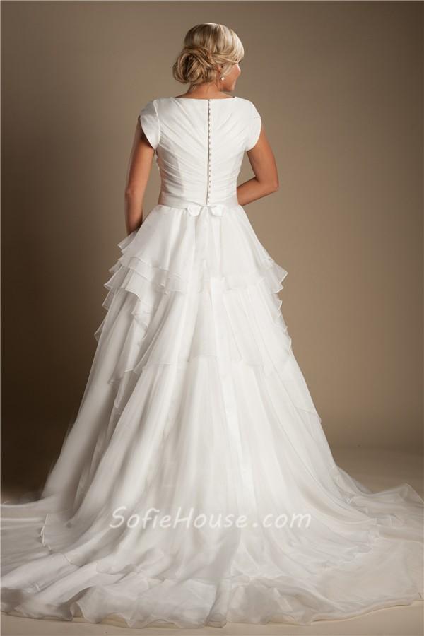 Modest Ruffle Wedding Dresses : Modest a line sleeve organza ruffle layered wedding dress