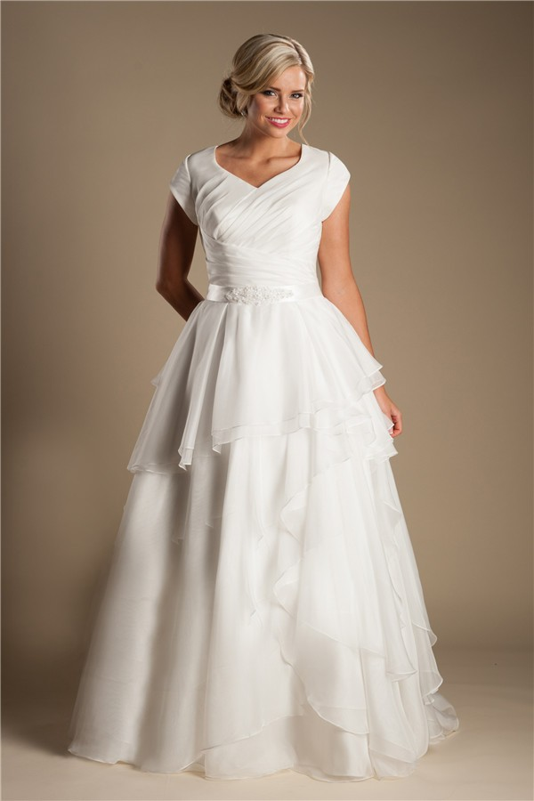 Layered Wedding Dress With Sleeves : Modest a line sleeve organza ruffle layered wedding dress with sash