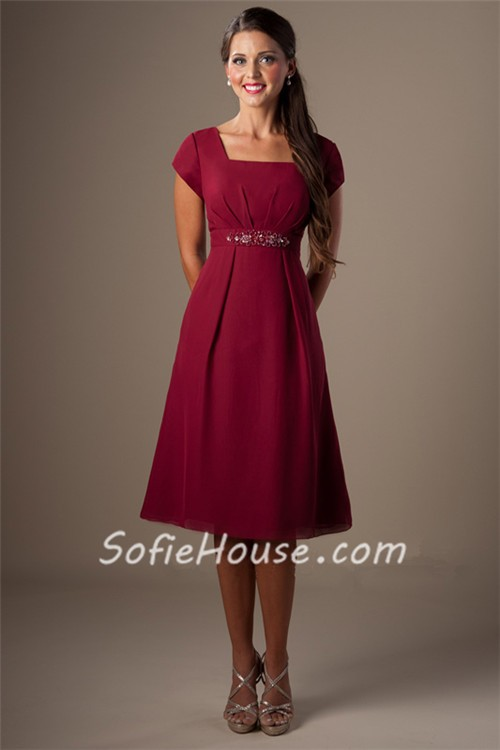 Modest a line square neck cap sleeves burgundy chiffon for Short modest wedding dresses