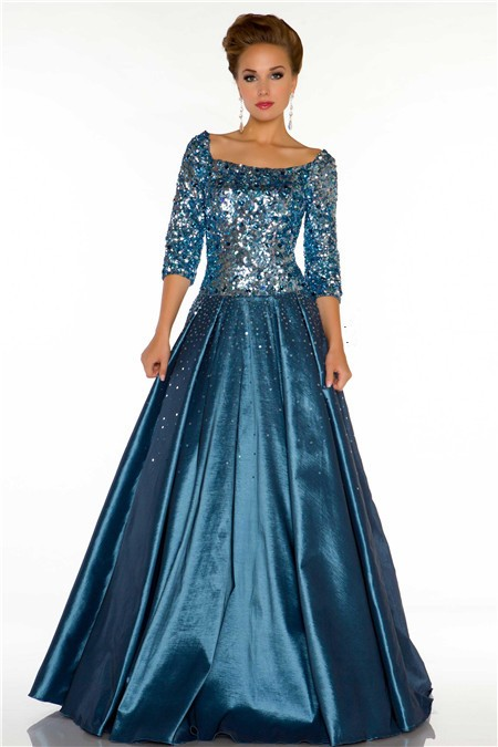 A Line Square Neck Long Teal Blue Taffeta Beaded Evening Prom ...