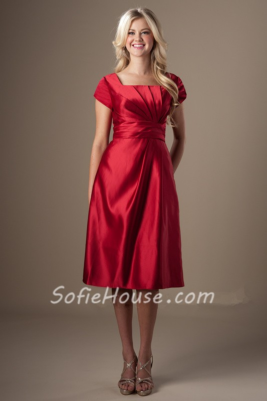 Modest A Line Square Neck Short Sleeves Red Satin Ruched