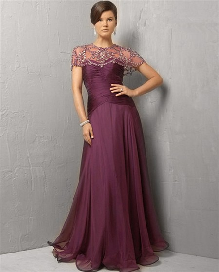 A Line Strapless Long Purple Chiffon Evening Dress With Beaded Jacket