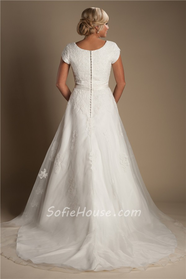 Modest a line sweetheart cap sleeve organza lace wedding for Lace sweetheart wedding dress cap sleeves