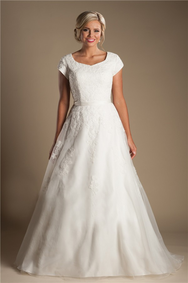 Modest a line sweetheart cap sleeve organza lace wedding for Modest a line wedding dresses