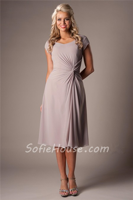 Modest A Line Sweetheart Grey Chiffon Ruched Short