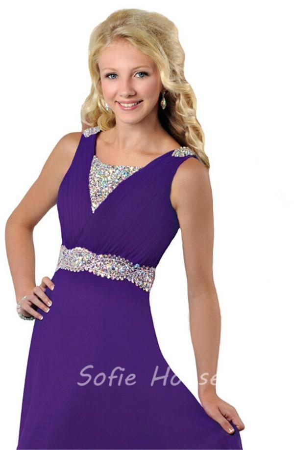 Modest A Line V Neck Long Purple Chiffon Beaded Teen Prom Dress