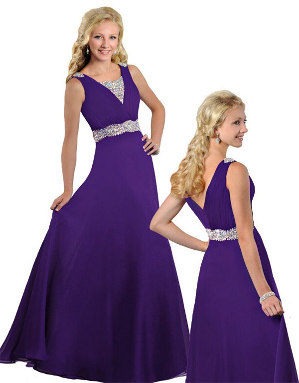 f21bd1b96568 Modest A Line V Neck Long Purple Chiffon Beaded Teen Prom Dress