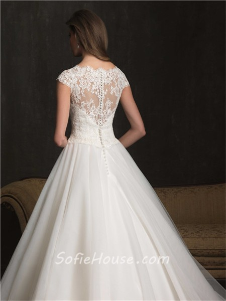 Modest Ball Gown Cap Sleeve Lace Tulle Wedding Dress With