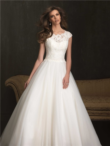 Modest ball gown cap sleeve lace tulle wedding dress with for Cheap modest wedding dresses with sleeves