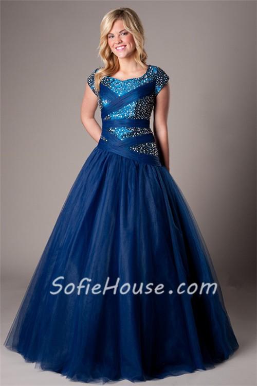 Modest Ball Gown Cap Sleeve Navy Blue Tulle Beaded Corset Evening ...