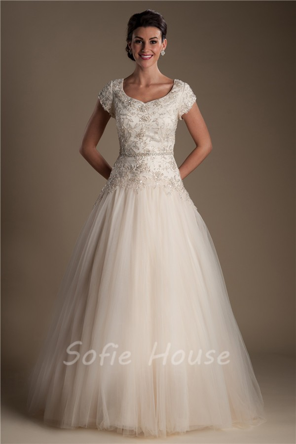Modest ball gown champagne colored tulle satin beaded for Champagne colored wedding dresses with sleeves