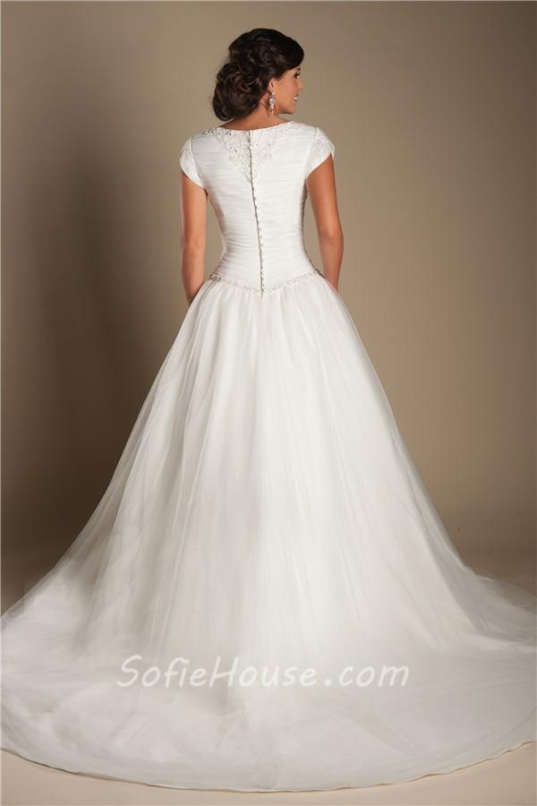 Modest ball gown drop waist tulle beaded wedding dress for Drop sleeve wedding dress