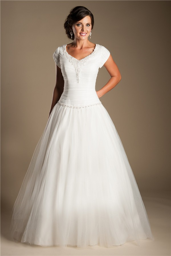 Modest Ball Gown Drop Waist Tulle Beaded Wedding Dress