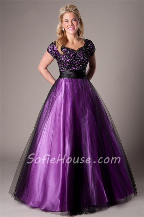 Ball Gown Purple Satin Black Tulle Lace Prom Dress With Sleeves