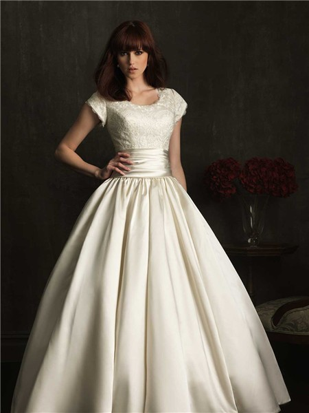 Modest ball gown scoop neck cap sleeve lace satin ruched for Modest elegant wedding dresses