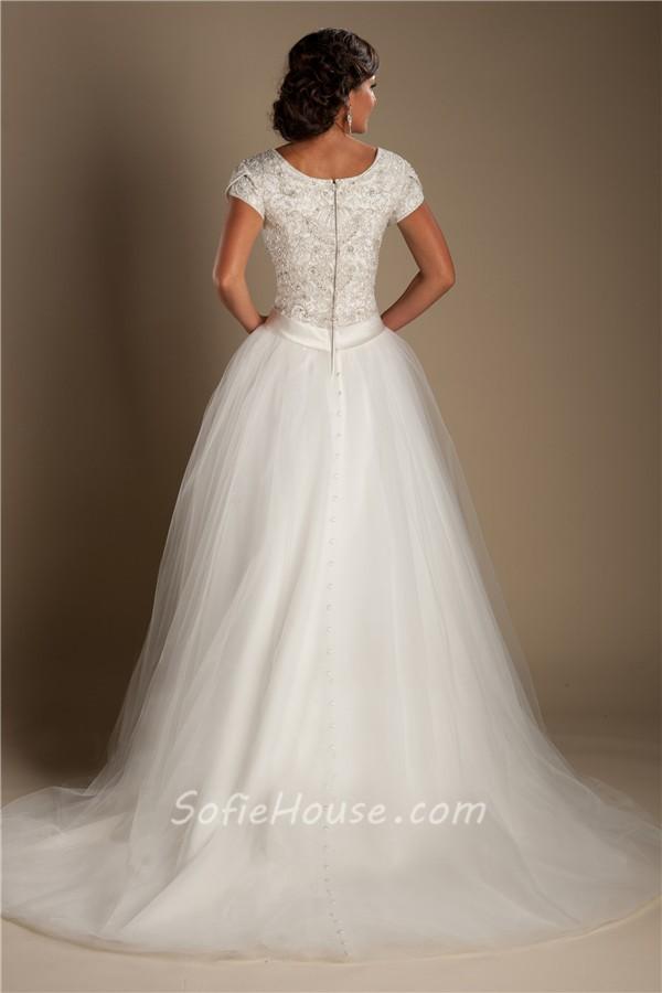 Modest ball gown scoop neck short sleeve tulle beaded for Modest ball gown wedding dresses