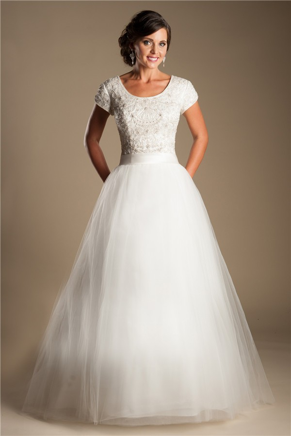 Modest ball gown scoop neck short sleeve tulle beaded for Short modest wedding dresses