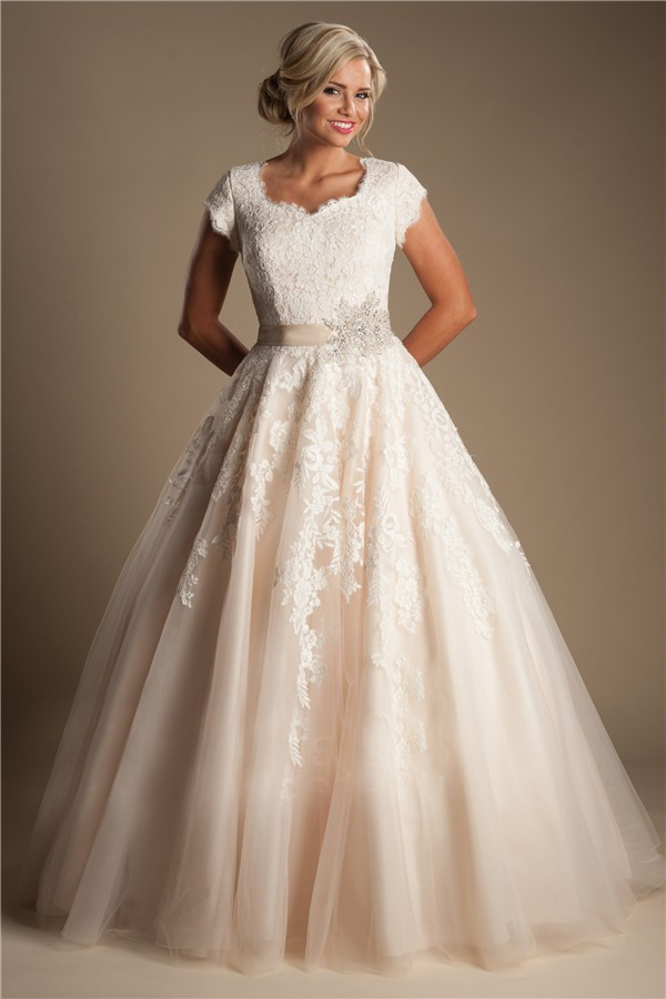 Modest ball gown short sleeve champagne colored lace for Wedding dresses in color