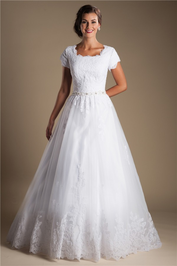 Modest ball gown short sleeve white tulle lace wedding for Short white wedding dress with sleeves