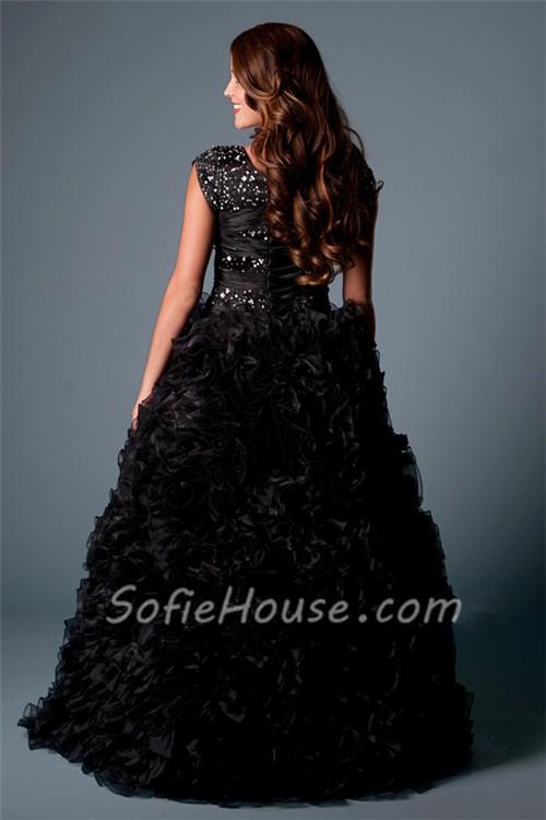 Modest Ball Gown Square Neck Cap Sleeve Black Organza Ruffle Corset ...