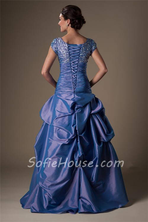 Modest Ball Gown Square Neck Cap Sleeve Drop Waist Periwinkle ...