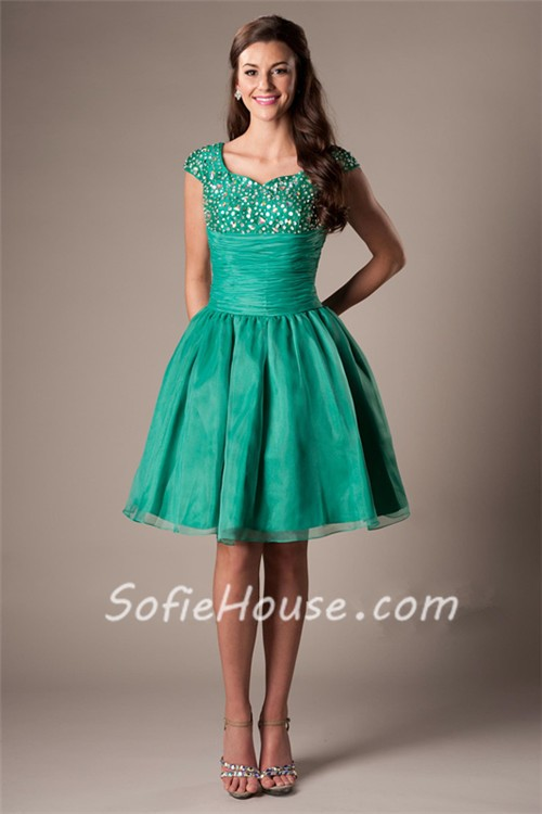 Modest Ball Gown Sweetheart Cap Sleeve Emerald Green