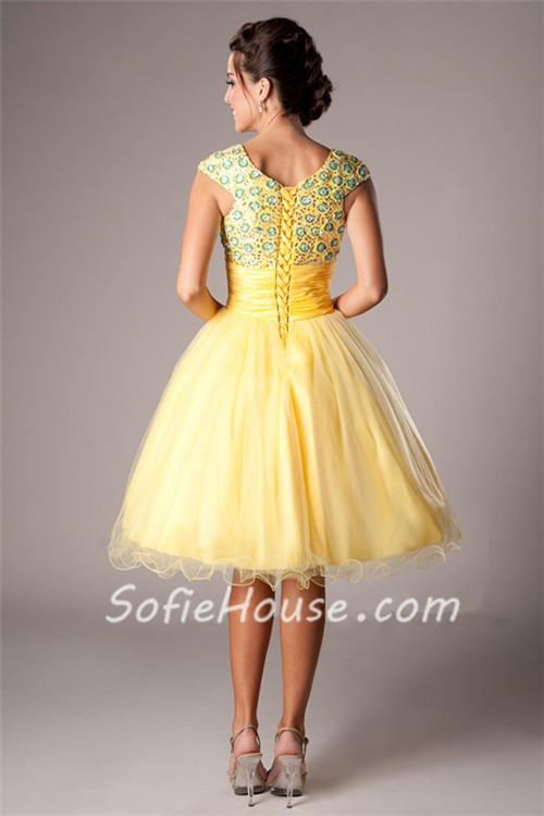 Modest Ball Square Neck Cap Sleeve Short Yellow Tulle