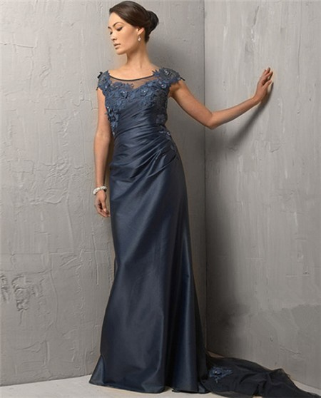 Bateau Cap Sleeve Long Navy Blue Evening Dress With Train