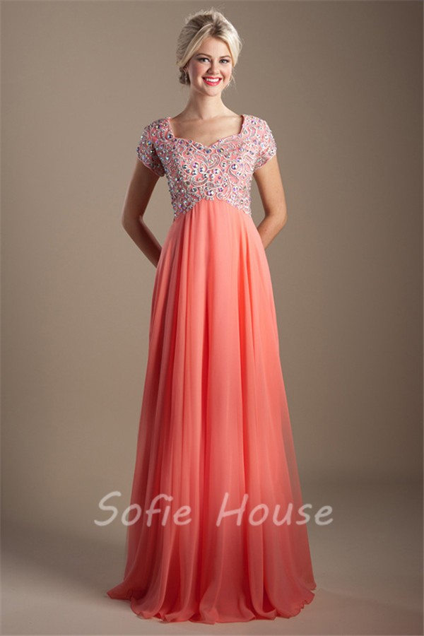 Modest Empire Waist Sleeve Long Coral Chiffon Beaded Rhinestone Prom ...