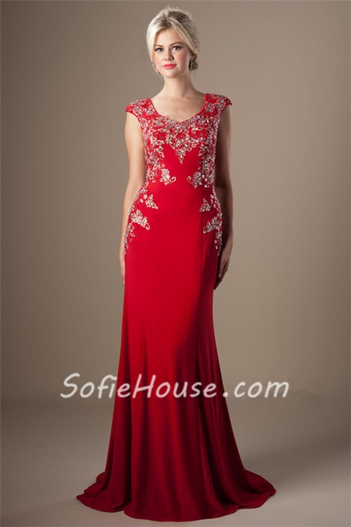 Modest Fitted Cap Sleeve Long Red Jersey Applique Beaded