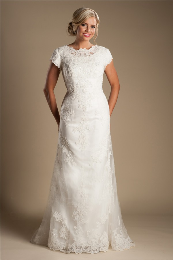 Modest high neck full back short sleeve ivory lace wedding for Ivory lace wedding dresses