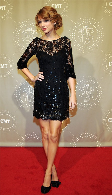 Modest Little Black Lace Sequin Taylor Swift Dress With Sleeve