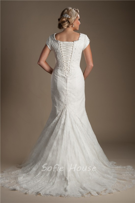 Modest Mermaid Cap Sleeve Corset Back Lace Draped Wedding