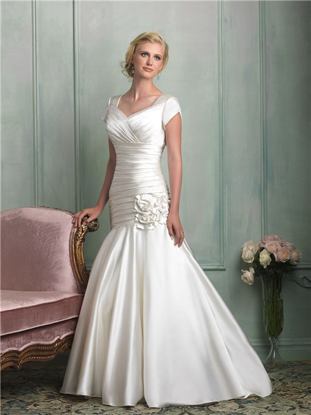 modest mermaid cap sleeve corset back ruched satin wedding