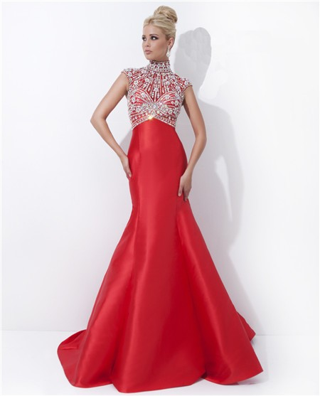 mermaid high neck cap sleeve long red satin beaded evening prom dress