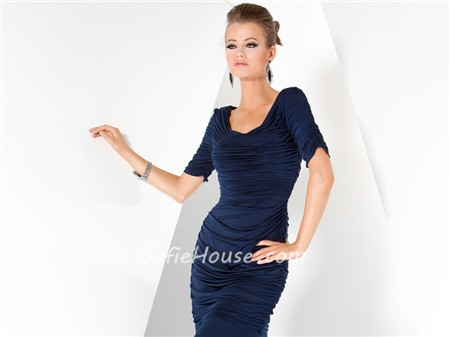Modest Mermaid Long Navy Blue Chiffon Pleated Evening Wear Dress ...