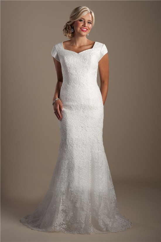 Modest mermaid queen anne neckline cap sleeve court train for Queen anne neckline wedding dress