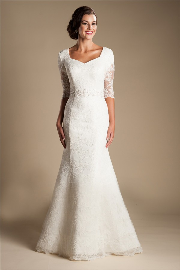 modest mermaid short sleeve lace wedding dress with buttons