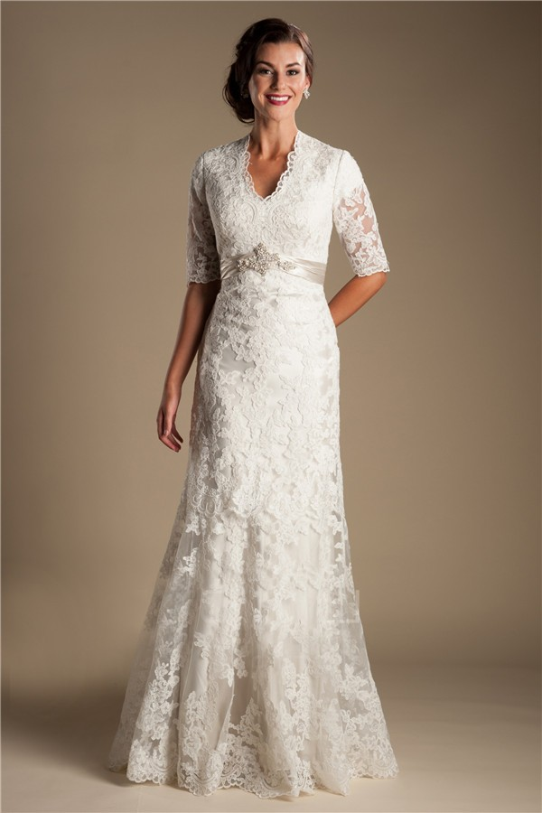 Modest mermaid short sleeve lace wedding dress with for Short modest wedding dresses