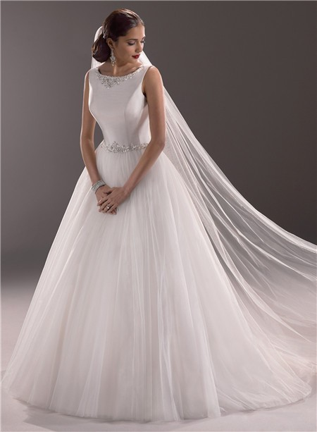 Princess Ball Gown Bateau Neck Satin Tulle Wedding Dress With Crystal