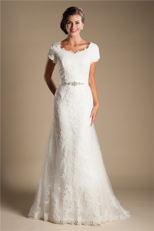 Modest Scalloped Neck Short Sleeve Lace Wedding Dress With ...