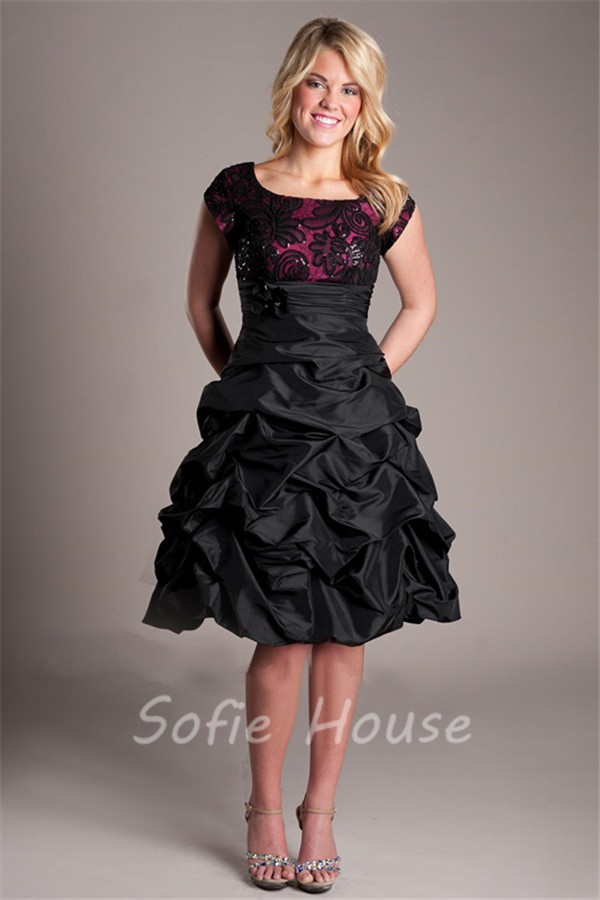 modest scoop neck black taffeta lace short prom dress with